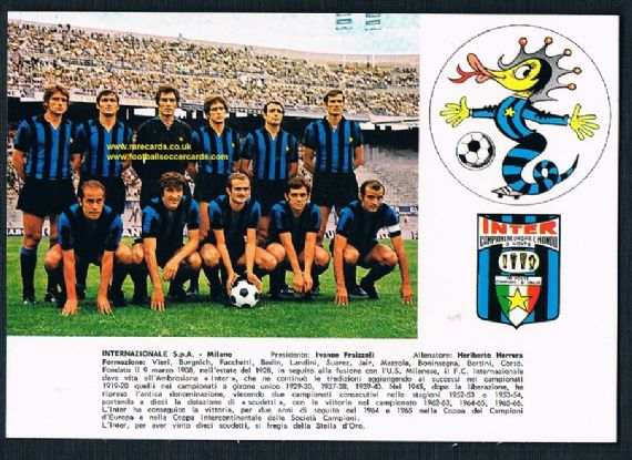 1960s postcard Inter 2 times world & Euro champs